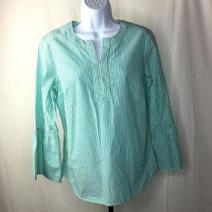Talbots Size SP Blouse Green White Striped NWT